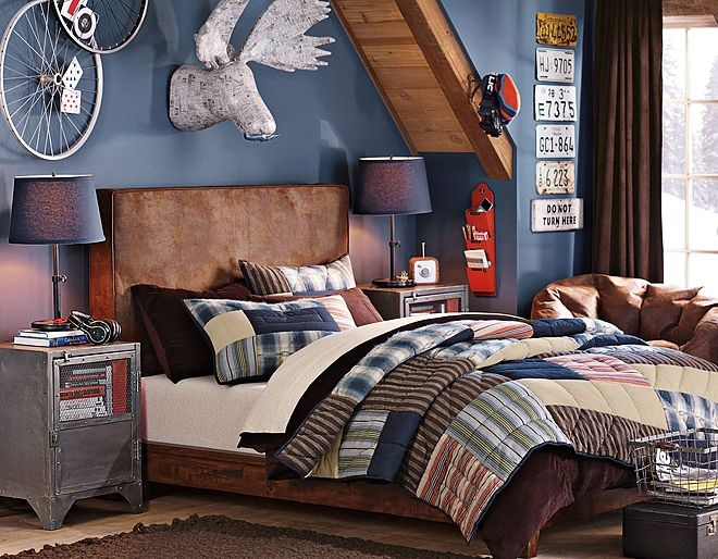 Masculine bedding headboards with speakers graham for Masculine headboards