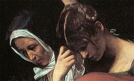 """Michelangelo Merisi, noto come il Caravaggio (Milano 1571 – Porto Ercole 1610), """"Deposizione"""",1603  circa olio su tela 300×203 cm Città del Vaticano, Pinacoteca Vaticana,"""