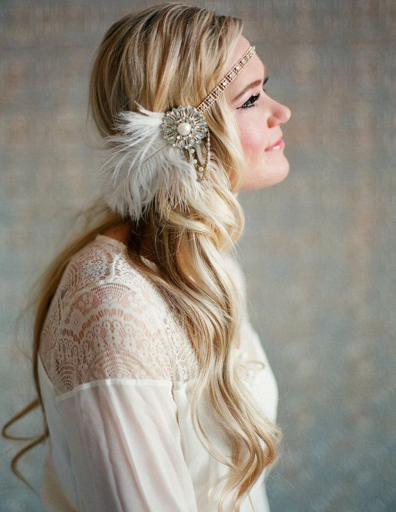 Flapper Headpiece, Vintage Inspired, Bridal Hairpiece, The Great Gatsby, 1920's, 1930's, Party, Roaring 20's, Gold, Ivory, Pearl, Feather