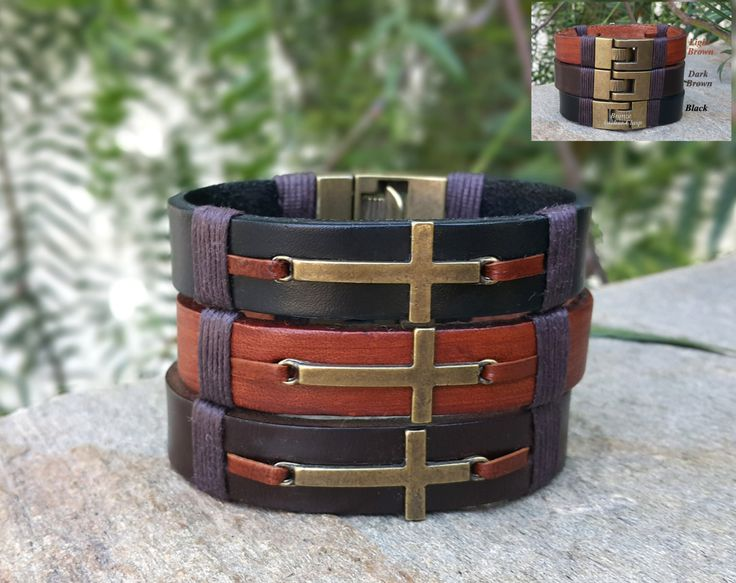 Personalized Sideways Cross Mens Leather Bracelet Mens Custom Message Christian Jewelry Prayer Faith Confirmation Spiritual Mens Gifts