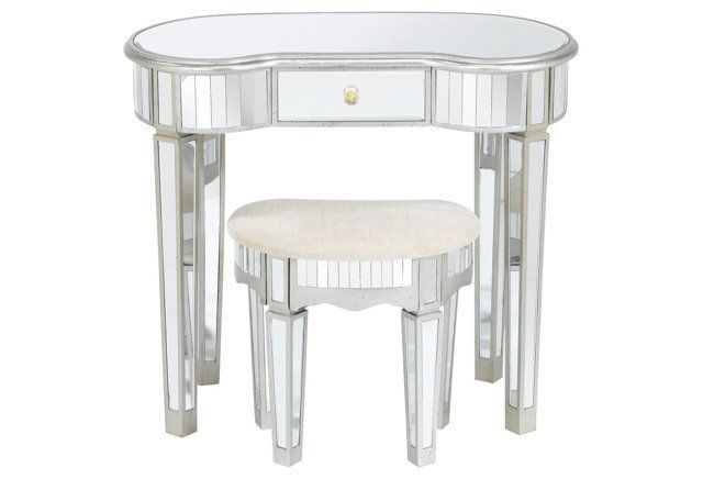 Lucia Mirrored Desk & Stool