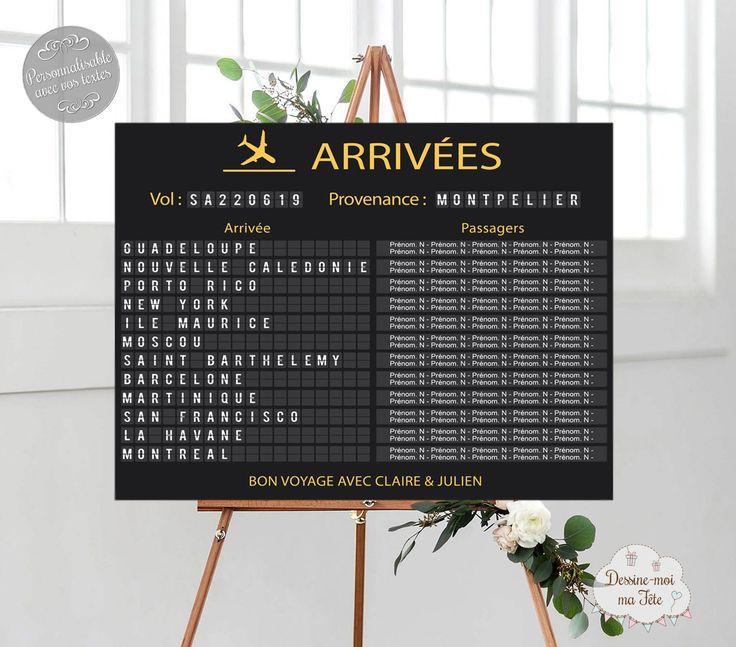 """Plan de desk Mariage personnalisé """"Panneau affichage aéroport – Voyage"""""""