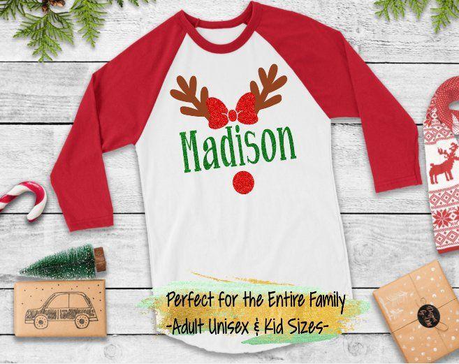 Custom Girl/'s Christmas Shirt with Name Personalized Girl Moose Ruffled Long Sleeve Shirt