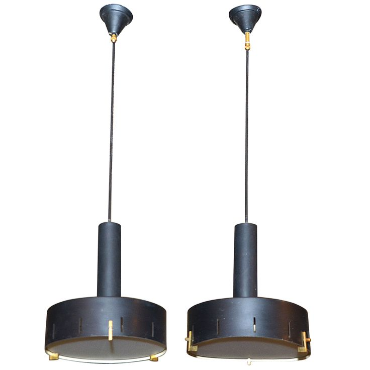 1stdibs | Pair of Italian 1960's Steel Sheet Pendant Lamps
