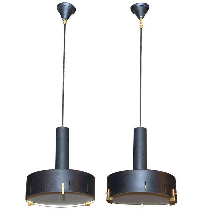 1stdibs | Pair of Italian 1960's Steel Sheet Pendant Lamps