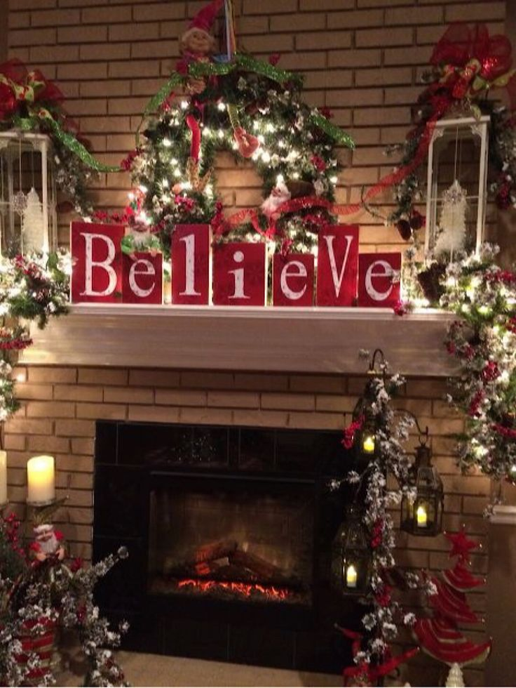 Beautifully Decorated Christmas Mantel 1252 best Christmas