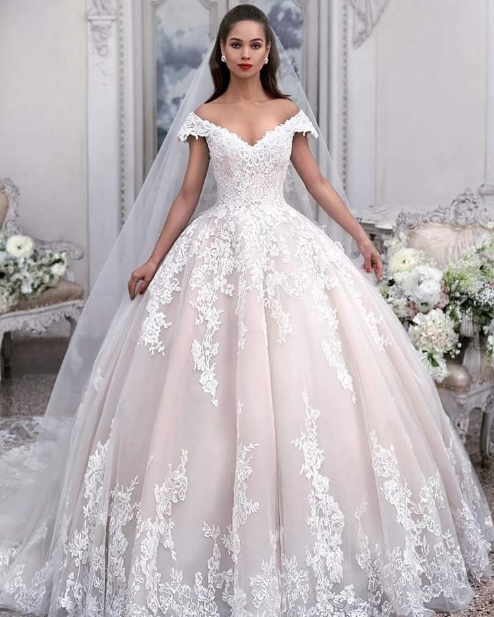Princess Light Pink Lace Wedding Dress with Off-the-Shoulder Sleeves ... a6f0eb34d607