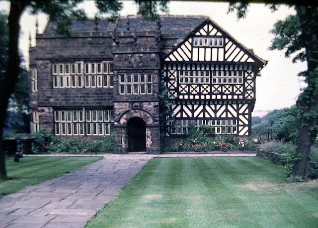 "Hall i' th' Wood (Museum), 16th century, Bolton, a rare surviving example of a Tudor wooden framed house. The name represents ""Hall in the Wood' spoken in the local regional English dialect and is pronouced as ""Hollith wood"""