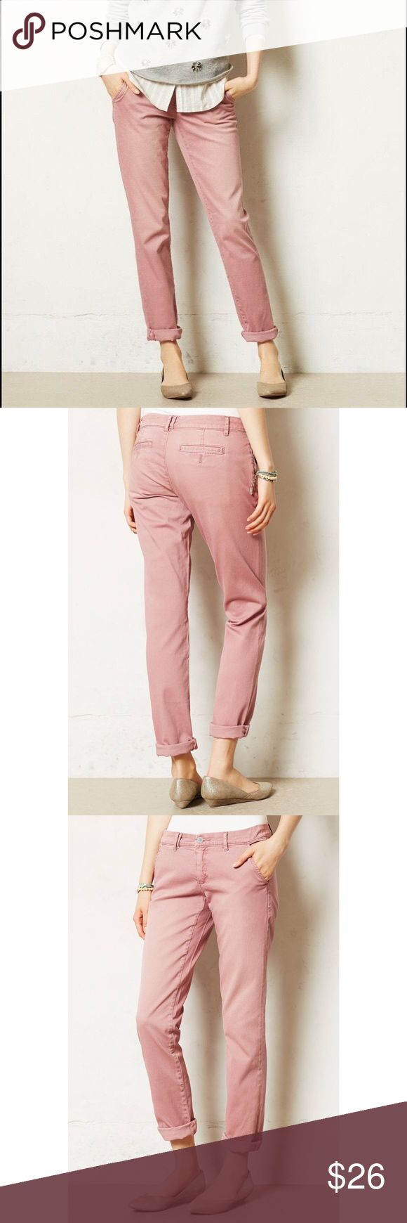 Pilcro Hyphen Fit chino pink pants Sz 29. 5 Anthro Pilcro Hyphen chino pants in pink (dusty rose) size 29. 5 pockets, zipper closure and single button, belt loops. In excellent condition. Who said wardrobe staples have to be boring and khaki? Reliable as they are colorful, Pilcro designs inspire layering, mixing-and-matching, and always have a personality of their own. Slightly relaxed and incredibly soft, these casual chinos are weekend-ready with booties and a slouchy pullover. Front, back…