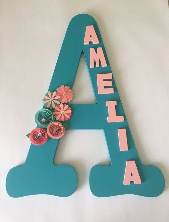 Custom Wooden Letter For Nursery Room Personalized Gift With Paper Flower Sign