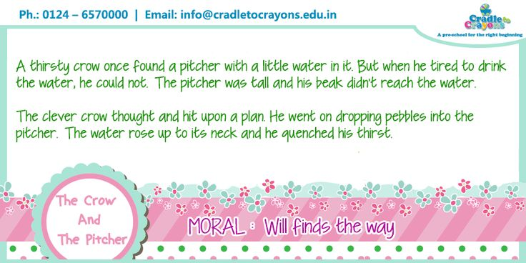 """The classic story of """"The Crow And The Pitcher"""" with an important moral. #gurgaon #kids #Gurgaon #kids #children #child #parents #toddler #kindergarten http://cradletocrayons.edu.in/"""