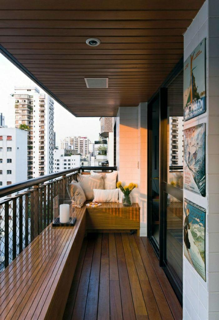 terraza de madera, techo y suelo de parquet con lámparas empotradas - como decorar una terraza