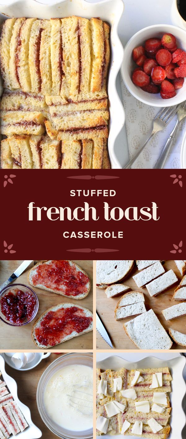 This stuffed french toast casserole is the perfect breakfast for a crowd. Click through for the recipe.