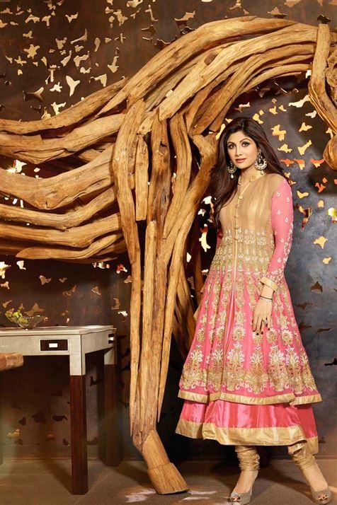 Eye-catchy Shilpa Shetty Georgette Pink, Golden Designer Anarkali Suit