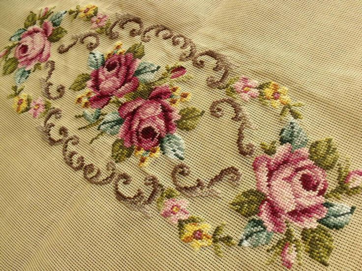 "Large 40x23"" PREWORKED Needlepoint Canvas - Piano SHABBY PINK Roses - Bench Cover Rug. $69.99, via Etsy."