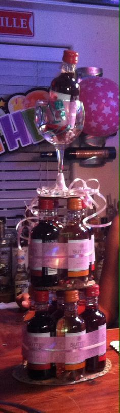 Mini wine bottle cake - 21st bday idea