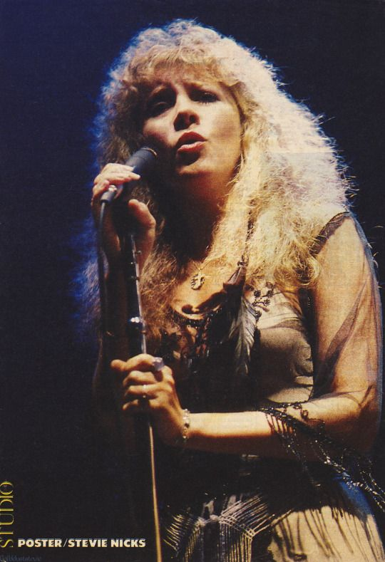 """Stevie   ~ ☆♥❤♥☆ ~    onstage at a Tom Petty concert, 1981; """"I used to go over to Tom Petty's house with my can of Hershey's chocolate powder, you know, in case I wanted chocolate milk."""" ~ Stevie Nicks, quote from her 'Belle Fleur' intro, '24 Karat Gold' Tour, in  Charlotte, NC, November 10th, 2016"""