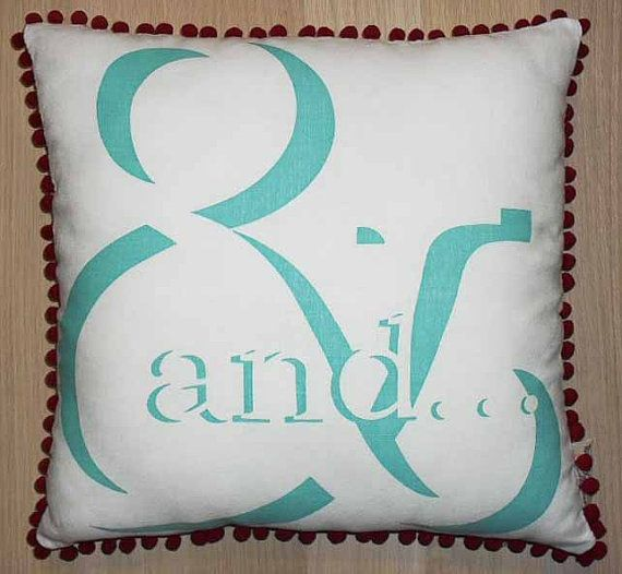 Cushion  hand screen printed & handmade  white by TongueinChicHome, $65.00
