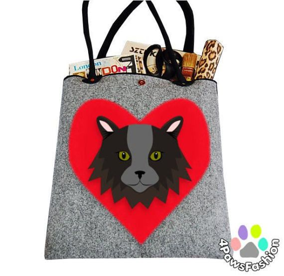 Russian Blue longhair cat pattern gray felt shoulder tote bag carry all shopper OOAK / 4PawsFashion