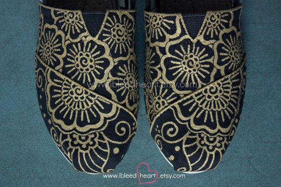 Henna Mehndi Flower Custom Painted TOMS Shoes Hand by ibleedheART