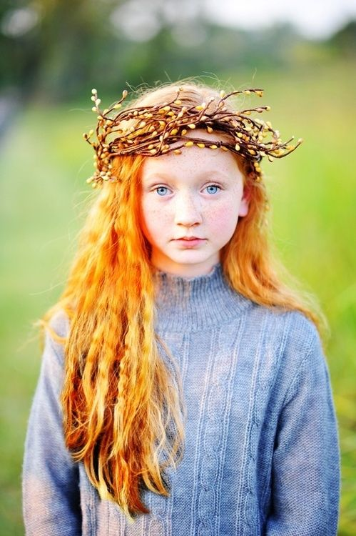 ∆∆∇∇ ………LOOKS AS THO THERE ARE SOME PUSSY- WILLOW BRANCHES WOVEN INTO A CROWN FOR A LOVELY  RED-HAIRED YOUNG LADY………..ccp