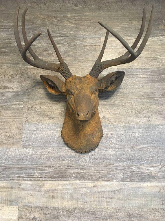 Rust Deer Head Wall Mount Faux Taxidermy Deer Farm House Etsy Deer Heads Wall Deer Head Wall Decor Faux Deer Head
