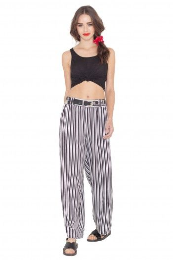 Cadaqués Striped Palazzo Trousers by Vintage