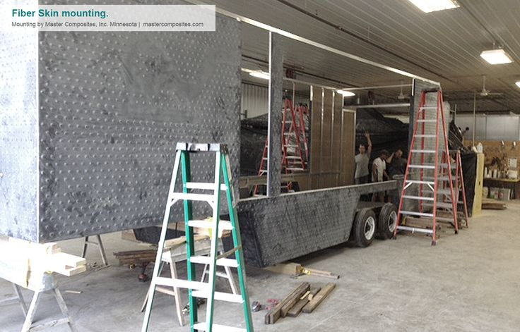 This image represents the trailer during the skin mounting process. Credits for the production to http://mastercomposites.com/