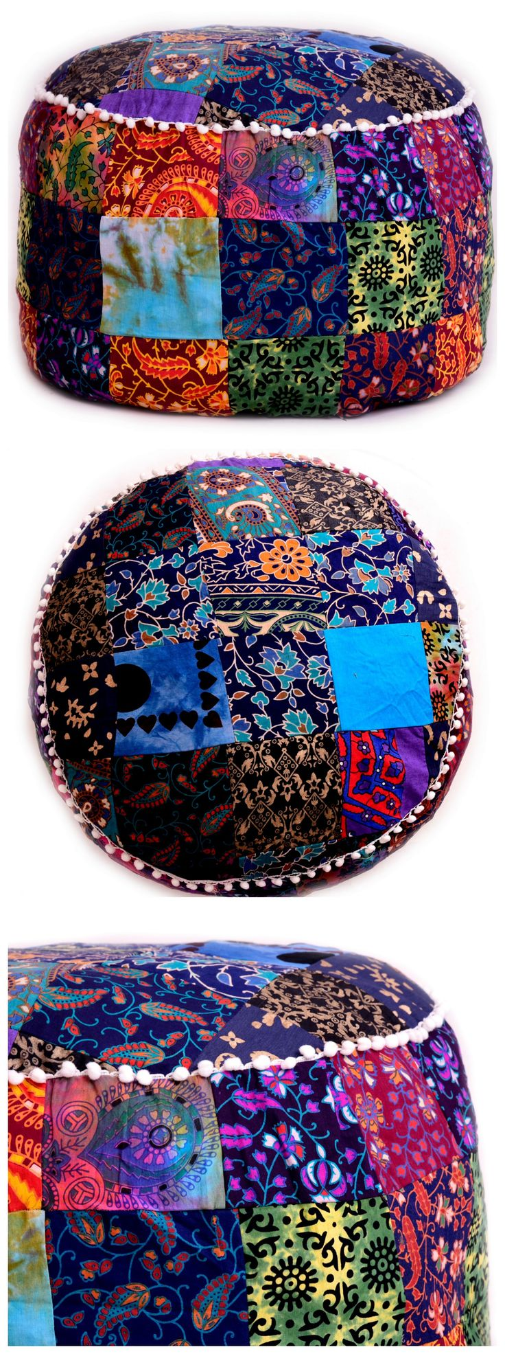 ❤❤ Hippie Indian Cotton Patchwork Pouf Ottoman Cover ❤❤ * It can also be considered as decorative item as they are widely used for home decoration in a very stylish way. This gorgeous Ottoman cover will add warmth style and elegance to any room in your home. #boho #bohemian #free Shipping #India #patchwork #traditional #love #gypsy #soul #handicraftpalace #buy #pompom #room #decor #living