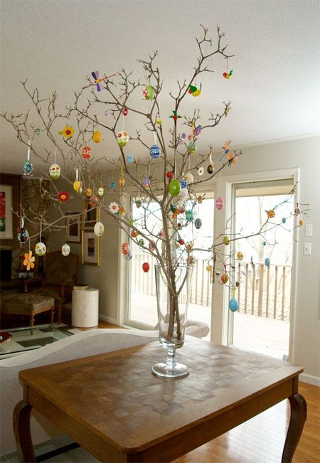 Easter egg tree decoration inspiration and idea. This would also be cute with a painted branch. #easter #decor skiptomylou.org
