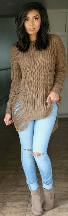 @roressclothes clothing ideas #women fashion brown knit sweater, distressed jeans