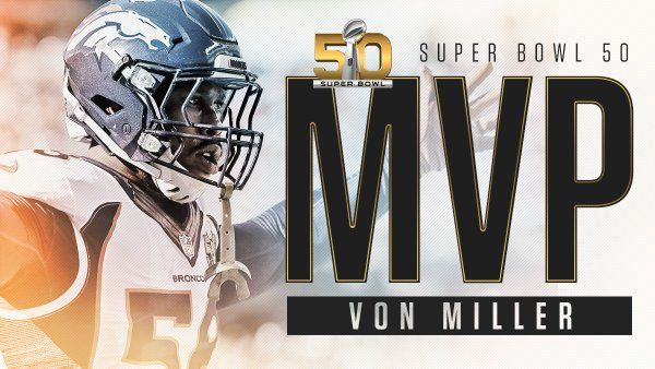 ESPN Stats & InfoVerified account  -   ‏@ESPNStatsInfo Von Miller: Super Bowl MVP  He becomes the 4th LB to do so (Malcolm Smith, Ray Lewis, Chuck Howley)