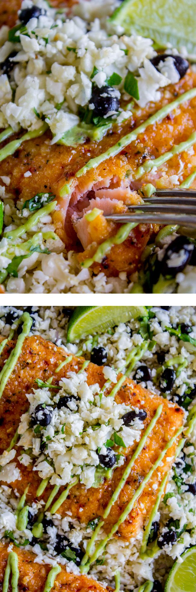 Honey Chipotle Crusted Salmon paired with Cauliflower Rice is the perfect healthy 30 minute dinner!