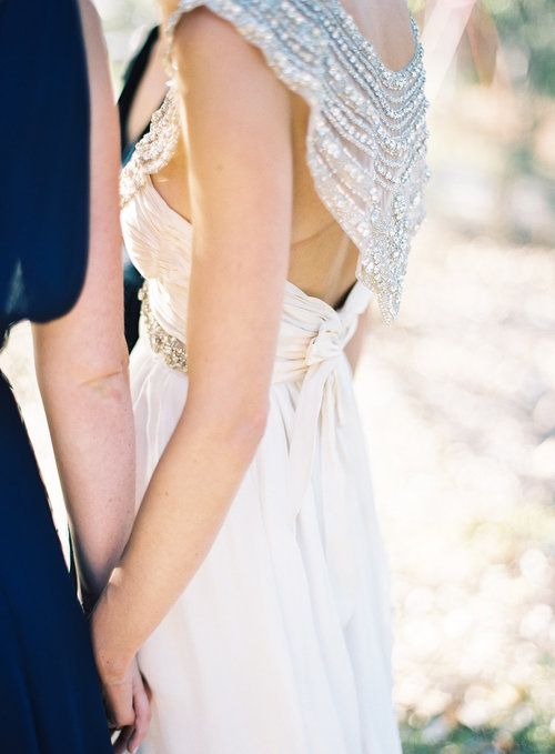 Anna Campbell Giselle Wedding Dress | Hand beaded hand embellished bridal gown | Beach wedding bride | Flowing bohemian silk train with vintage inspired back detail | ELOISEANDHUGH-WEDDING-BYRONLOVESFAWN