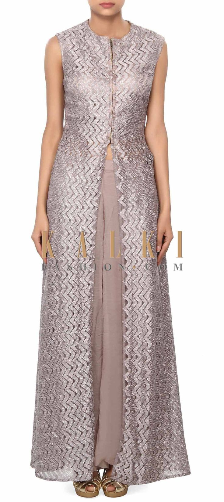 Buy Online from the link below. We ship worldwide (Free Shipping over US$100) Price- $209 Click Anywhere to Tag http://www.kalkifashion.com/grey-straight-suit-enhanced-with-front-slit-only-on-kalki.html