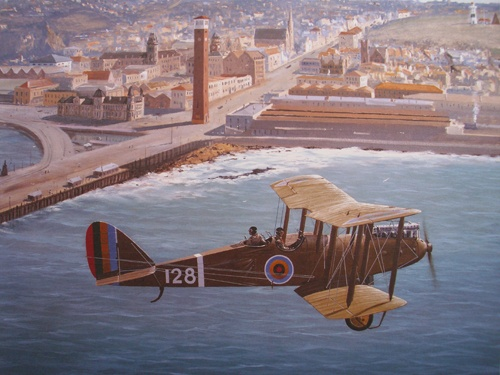 12 De Havilland 9 circling Port Elizabeth Central, February 24, 1925. The SAAF inaugurated an experimental coastal mail service    755 x 908 mm.