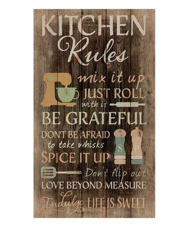 Love this 'Kitchen Rules' Wall Art on #zulily! #zulilyfinds