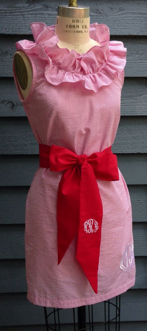 NC State  Lola, seersucker dress, with a flirty neckline ruffle on Etsy, $55.00, minus the ruffles