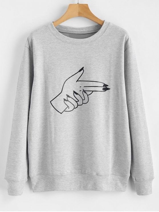 1d6a3c8ccdb84c Contrasting Gesture Print Graphic Pullover Sweatshirt in 2019 ...