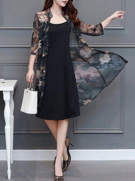 26ad07837e20 Shop Dresses - Stand Collar Two Piece Plus Size Chiffon Floral Dress  online. Discover unique