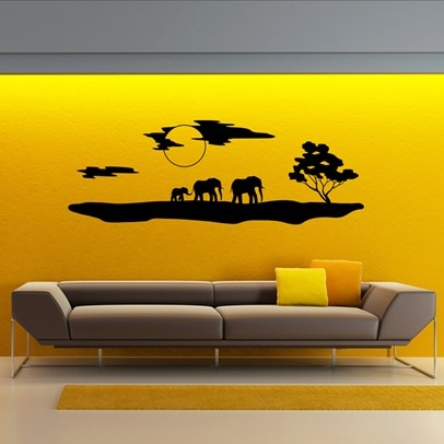 African silhouette with elephants-hry-africansilhouette2-Black @ www.thaisale.co.th