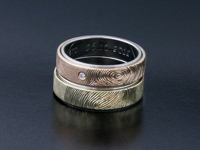 #Rings by #Bielak  #palladium / pink gold / yellow gold  #unique #wedding rings with #fingerprints  Hand Made in #Poland