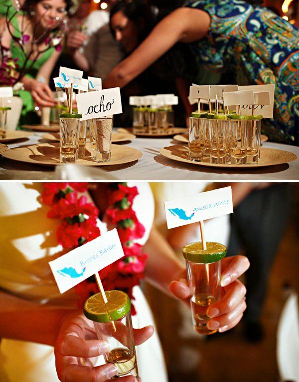 Escort/seating card 'shots' SO CUTE! Mexico destination wedding by Del Sol Photography