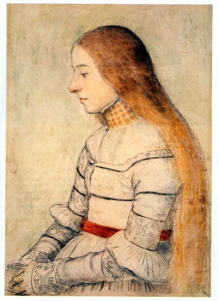 Hans Holbein the Younger, Anna Meyer. c. 1526, chalk on paper. Private collection.