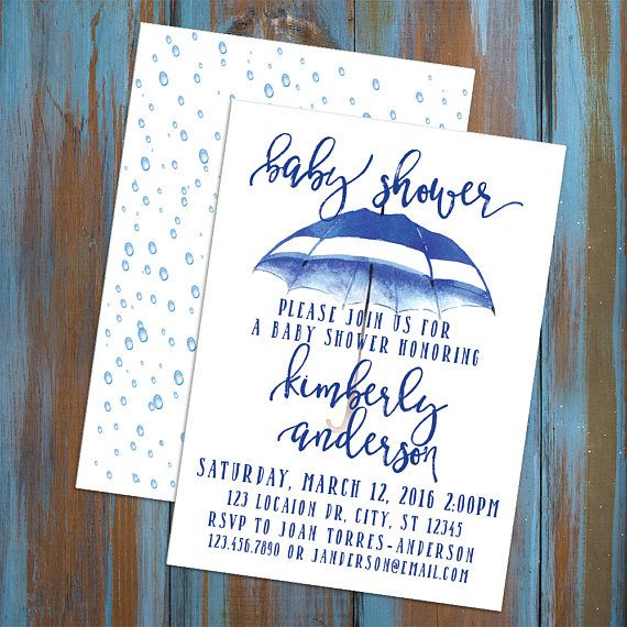 5x7 digital baby shower invitation featuring watercolor blue umbrella and raindrop background for the back. included a card for registry information and a request for a book in place of a card for starting baby's library. can be modified for a sprinkle shower or a birthday party.