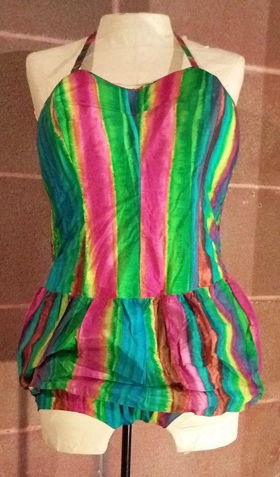 Costume anni 50 tessuto PirelliLastex di BibboVintage su Etsy