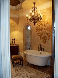 I like the wall treatment in this old world style bathroom.