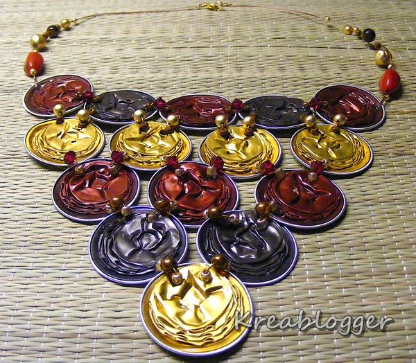 Recycled necklace from nespresso coffee capsules