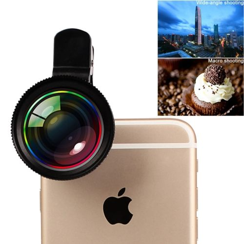 [$8.86] 2 in 1 Universal Phone Lens 0.7X Super Wide Angle + 12X Macro Lens with Clip for iPhone, Samsung, HTC, Sony, Huawei, Xiaomi, Meizu