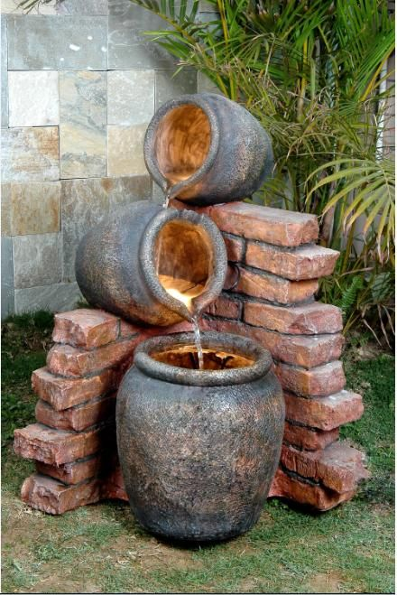 Image detail for -Pots On Brick Fountain Water Feature (PWF8279-L) | Aquatic Site